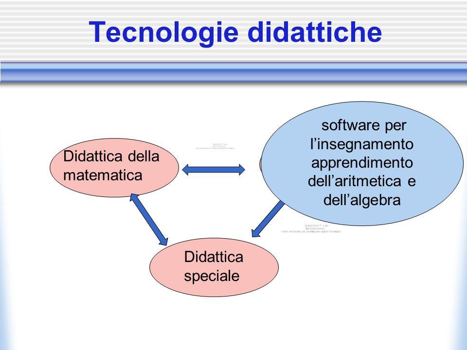Didattica della matematica Tecnologie Didattiche Didattica speciale Tecnologie didattiche software per linsegnamento apprendimento dellaritmetica e dellalgebra
