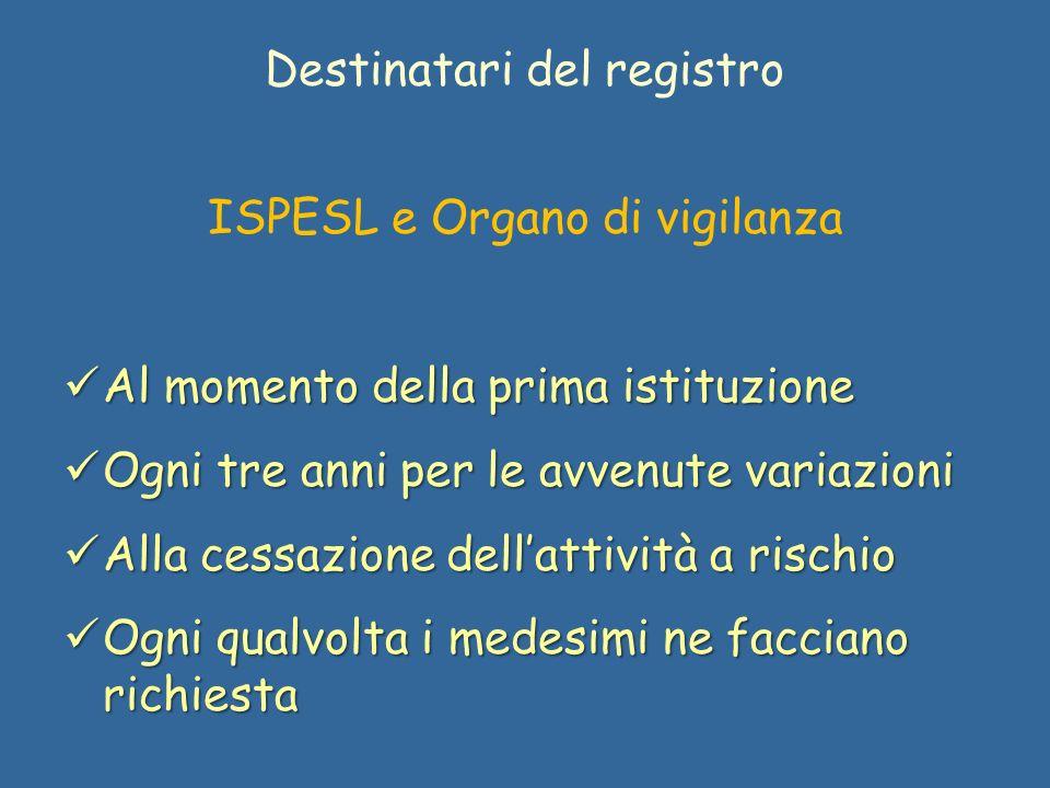 Destinatari del registro ISPESL e Organo di vigilanza Al momento della prima istituzione Al momento della prima istituzione Ogni tre anni per le avven