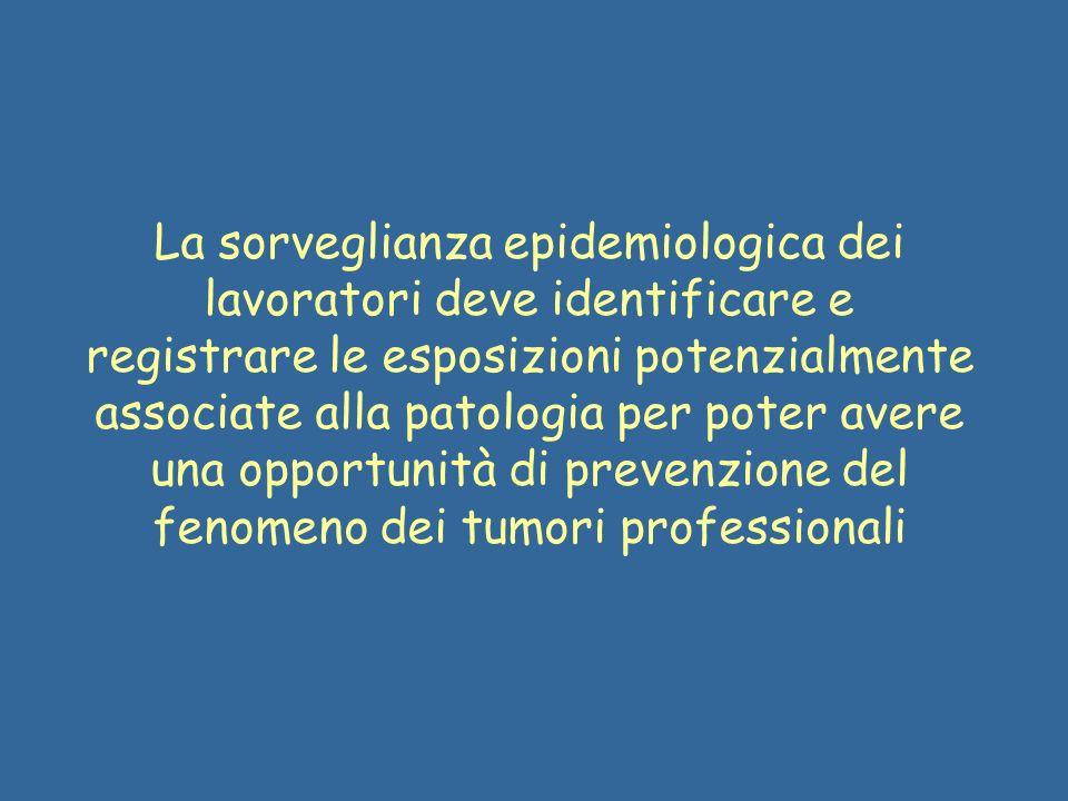 La sorveglianza epidemiologica dei lavoratori deve identificare e registrare le esposizioni potenzialmente associate alla patologia per poter avere un