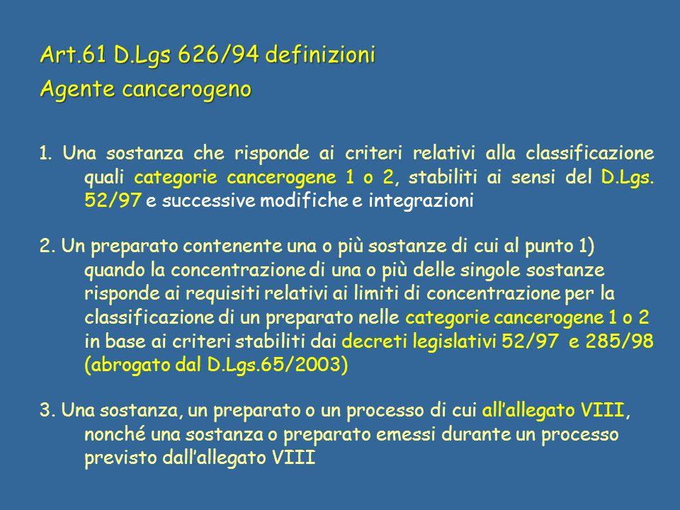 Art.61 D.Lgs 626/94 definizioni Agente cancerogeno 1. Una sostanza che risponde ai criteri relativi alla classificazione quali categorie cancerogene 1
