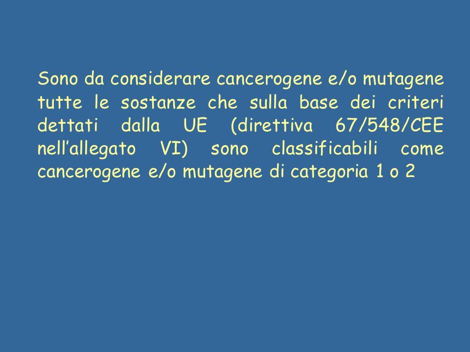 Sono da considerare cancerogene e/o mutagene tutte le sostanze che sulla base dei criteri dettati dalla UE (direttiva 67/548/CEE nellallegato VI) sono