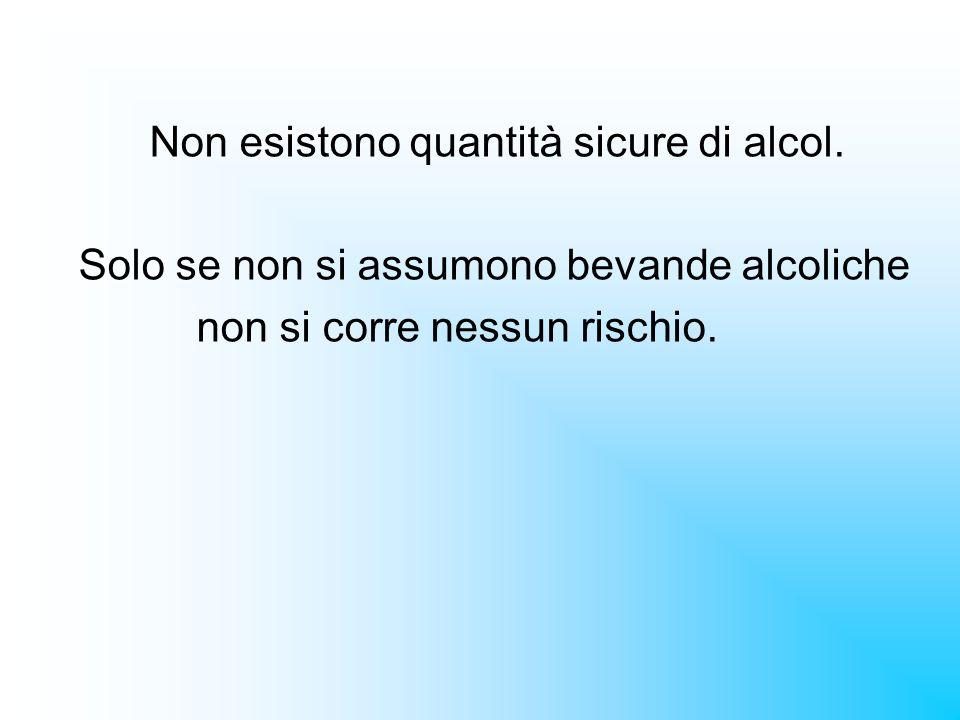 Non esistono quantità sicure di alcol. Solo se non si assumono bevande alcoliche non si corre nessun rischio.