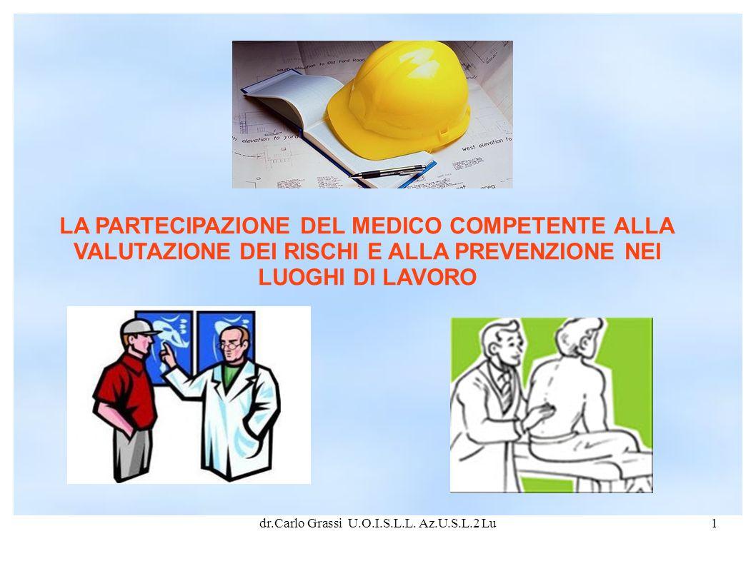 dr.Carlo Grassi U.O.I.S.L.L. Az.U.S.L.2 Lu1 LA PARTECIPAZIONE DEL MEDICO COMPETENTE ALLA VALUTAZIONE DEI RISCHI E ALLA PREVENZIONE NEI LUOGHI DI LAVOR