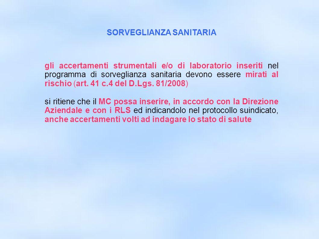 dr.Carlo Grassi U.O.I.S.L.L. Az.U.S.L.2 Lu16 gli accertamenti strumentali e/o di laboratorio inseriti nel programma di sorveglianza sanitaria devono e