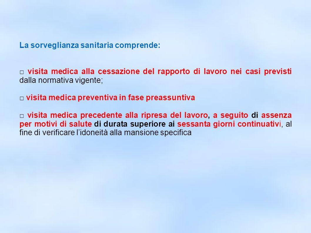 dr.Carlo Grassi U.O.I.S.L.L. Az.U.S.L.2 Lu22 La sorveglianza sanitaria comprende: visita medica alla cessazione del rapporto di lavoro nei casi previs