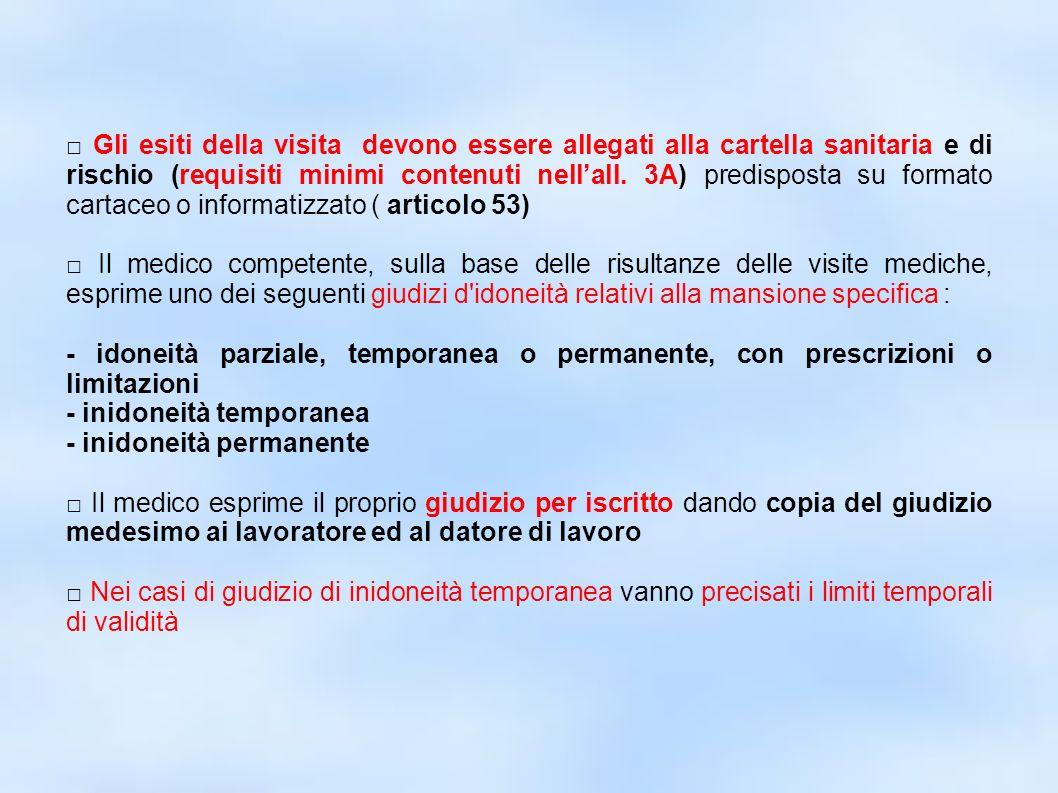 dr.Carlo Grassi U.O.I.S.L.L. Az.U.S.L.2 Lu24 Gli esiti della visita devono essere allegati alla cartella sanitaria e di rischio (requisiti minimi cont