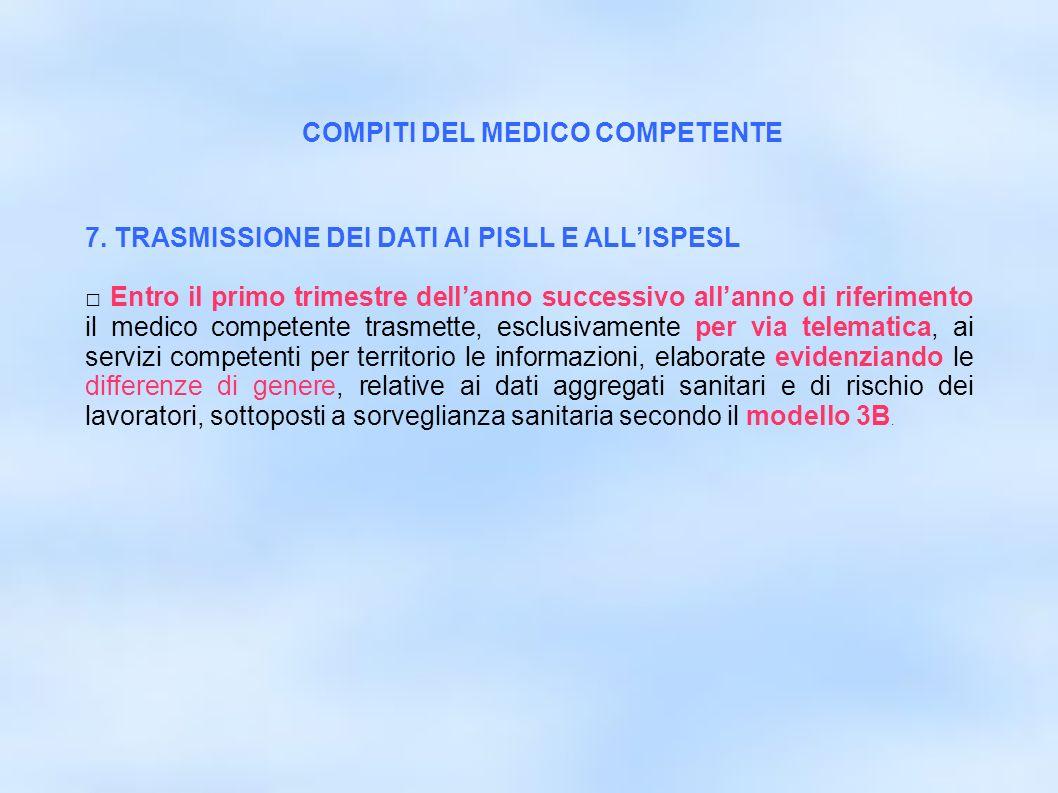 dr.Carlo Grassi U.O.I.S.L.L. Az.U.S.L.2 Lu26 7. TRASMISSIONE DEI DATI AI PISLL E ALLISPESL Entro il primo trimestre dellanno successivo allanno di rif