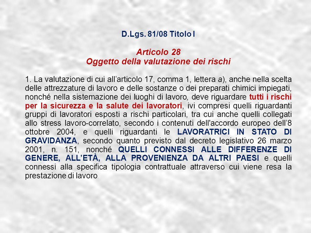 dr.Carlo Grassi U.O.I.S.L.L. Az.U.S.L.2 Lu3 D.Lgs. 81/08 Titolo I Articolo 28 Oggetto della valutazione dei rischi 1. La valutazione di cui allarticol