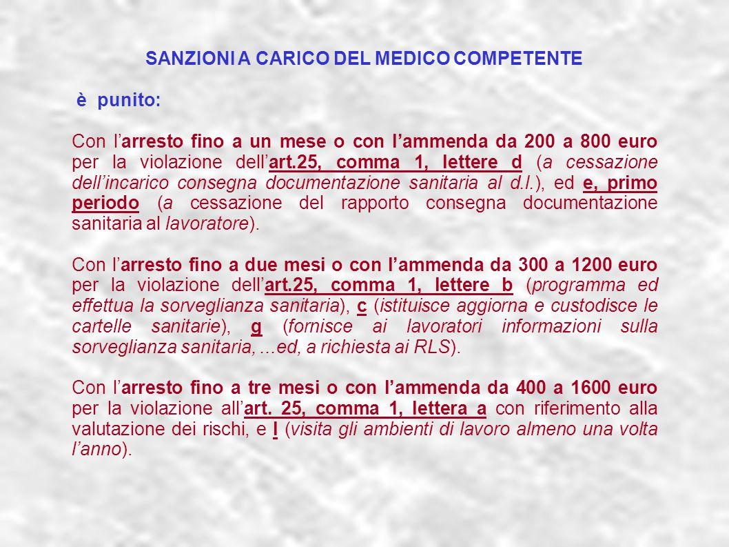 dr.Carlo Grassi U.O.I.S.L.L. Az.U.S.L.2 Lu30 SANZIONI A CARICO DEL MEDICO COMPETENTE è punito: Con larresto fino a un mese o con lammenda da 200 a 800