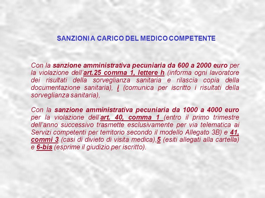 dr.Carlo Grassi U.O.I.S.L.L. Az.U.S.L.2 Lu31 Con la sanzione amministrativa pecuniaria da 600 a 2000 euro per la violazione dellart.25 comma 1, letter