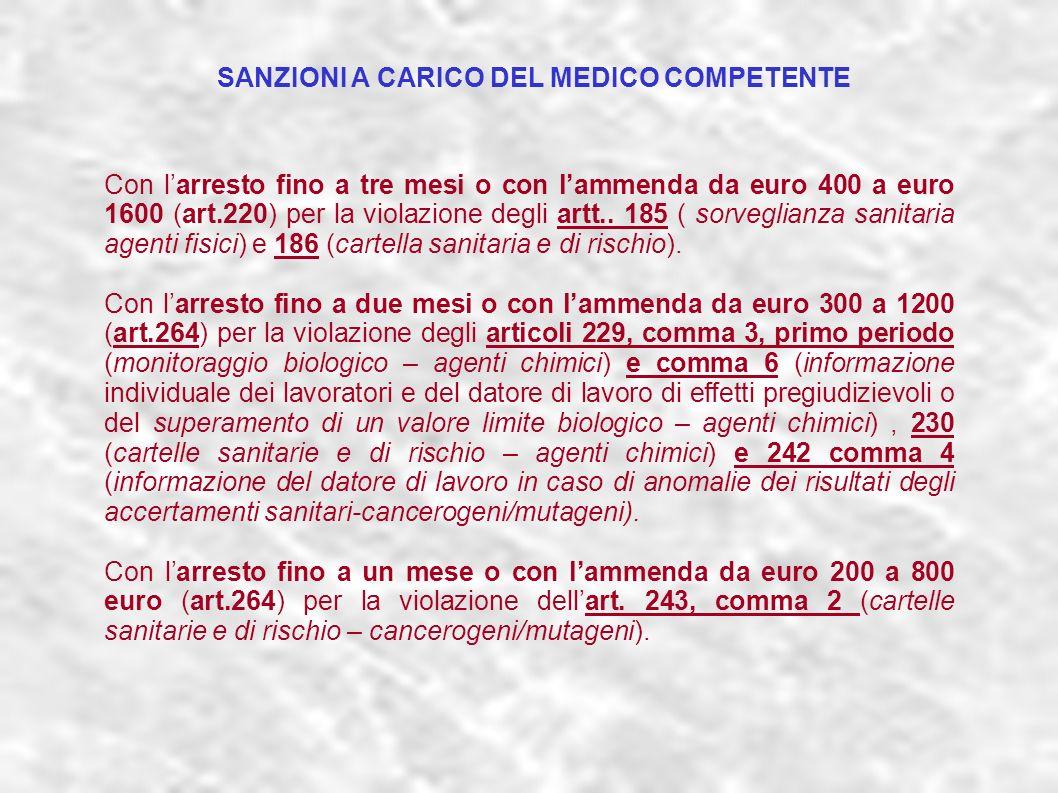 dr.Carlo Grassi U.O.I.S.L.L. Az.U.S.L.2 Lu32 Con larresto fino a tre mesi o con lammenda da euro 400 a euro 1600 (art.220) per la violazione degli art