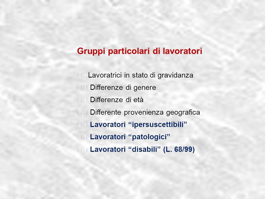 dr.Carlo Grassi U.O.I.S.L.L. Az.U.S.L.2 Lu4 Gruppi particolari di lavoratori Lavoratrici in stato di gravidanza Differenze di genere Differenze di età