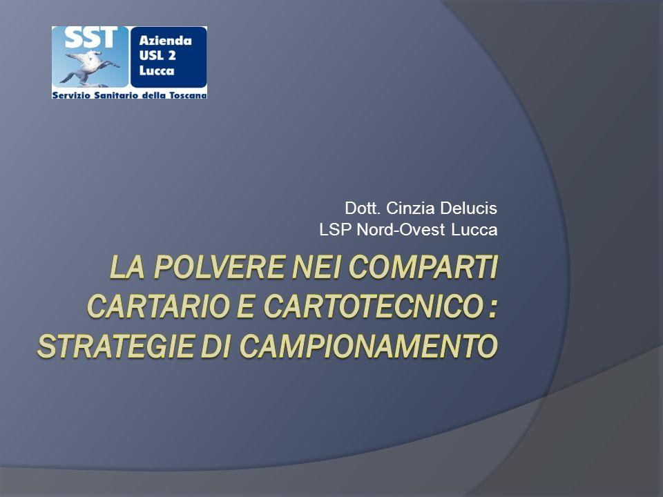 Cinzia Delucis LSP Lucca Procedura di campionamento Controllo della portata (con filtro) Selettore in zona respiratoria ( 30 cm dalla bocca o dal naso) Controllo del flusso a termine campionamento (prima di spegnere la pompa) Se la differenza pre-post è > di 0,1 l/m o del 5% il campione non è valido Controllare il tempo di campionamento Rimuovere il filtro e deporlo nel contenitore Trasporto al laboratorio