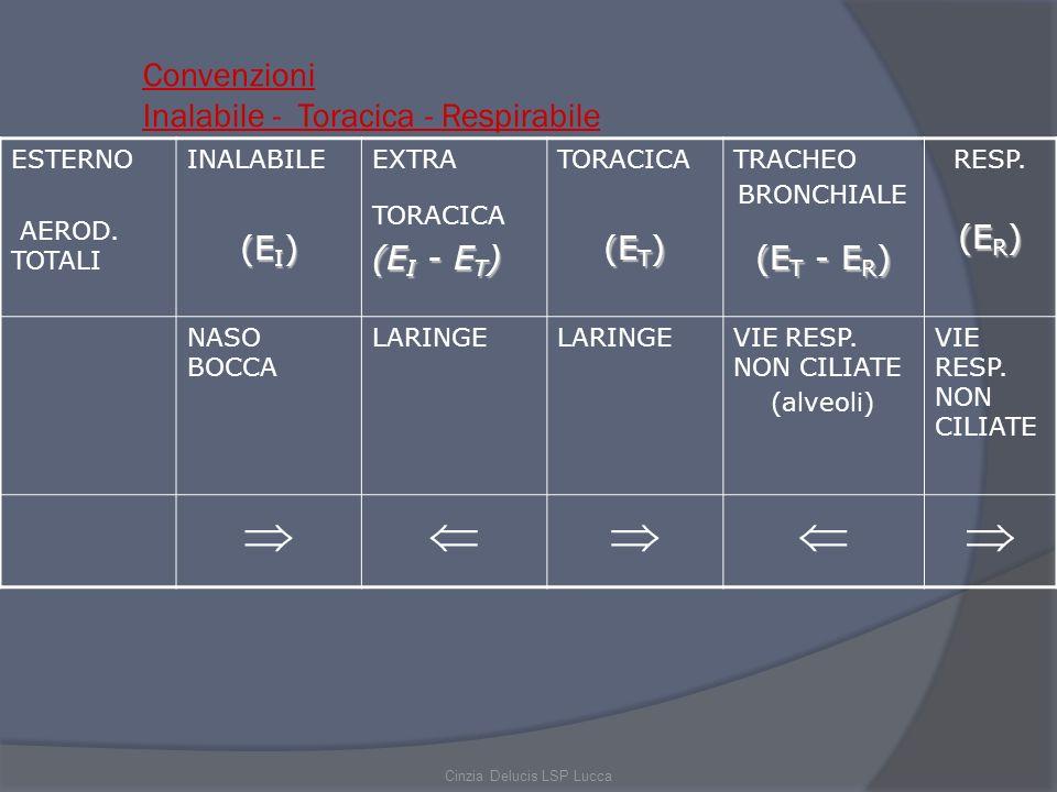 Convenzioni Inalabile - Toracica - Respirabile ESTERNO AEROD. TOTALI INALABILE (E I ) EXTRA TORACICA (E I - E T ) TORACICA (E T ) TRACHEO BRONCHIALE (