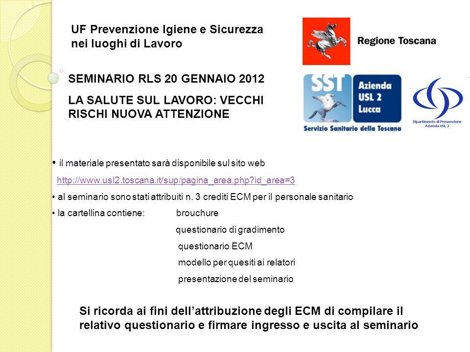 SEMINARIO RLS 20 GENNAIO 2012 LA SALUTE SUL LAVORO: VECCHI RISCHI NUOVA ATTENZIONE UF Prevenzione Igiene e Sicurezza nei luoghi di Lavoro il materiale