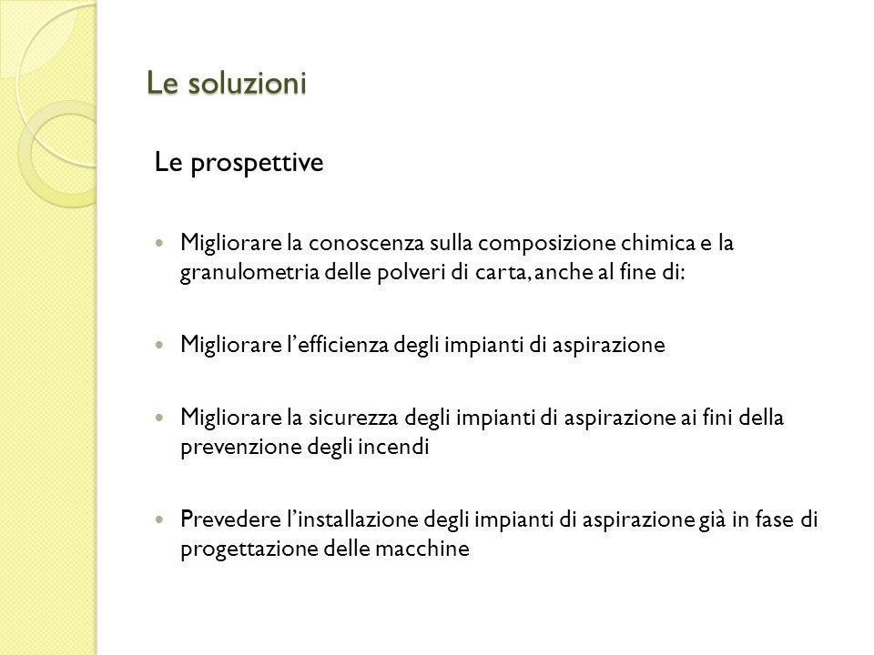 Le soluzioni Le prospettive Migliorare la conoscenza sulla composizione chimica e la granulometria delle polveri di carta, anche al fine di: Migliorar