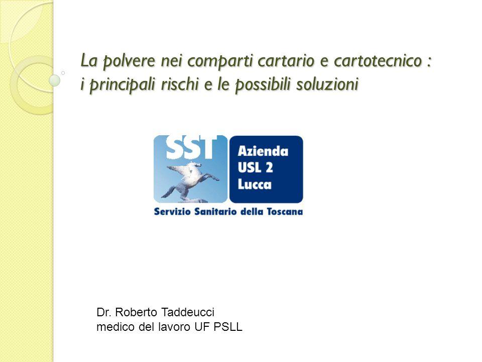 La polvere nei comparti cartario e cartotecnico : i principali rischi e le possibili soluzioni Dr. Roberto Taddeucci medico del lavoro UF PSLL