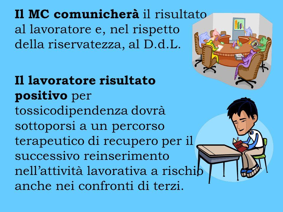 Il MC comunicherà il risultato al lavoratore e, nel rispetto della riservatezza, al D.d.L. Il lavoratore risultato positivo per tossicodipendenza dovr