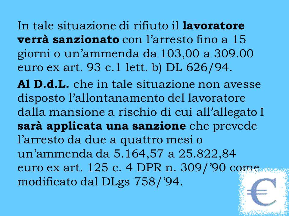 In tale situazione di rifiuto il lavoratore verrà sanzionato con larresto fino a 15 giorni o unammenda da 103,00 a 309.00 euro ex art.