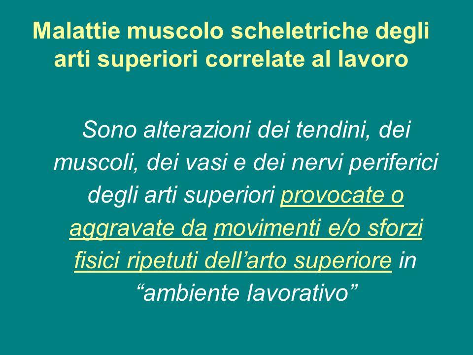 Malattie muscolo scheletriche degli arti superiori correlate al lavoro Sono alterazioni dei tendini, dei muscoli, dei vasi e dei nervi periferici degl
