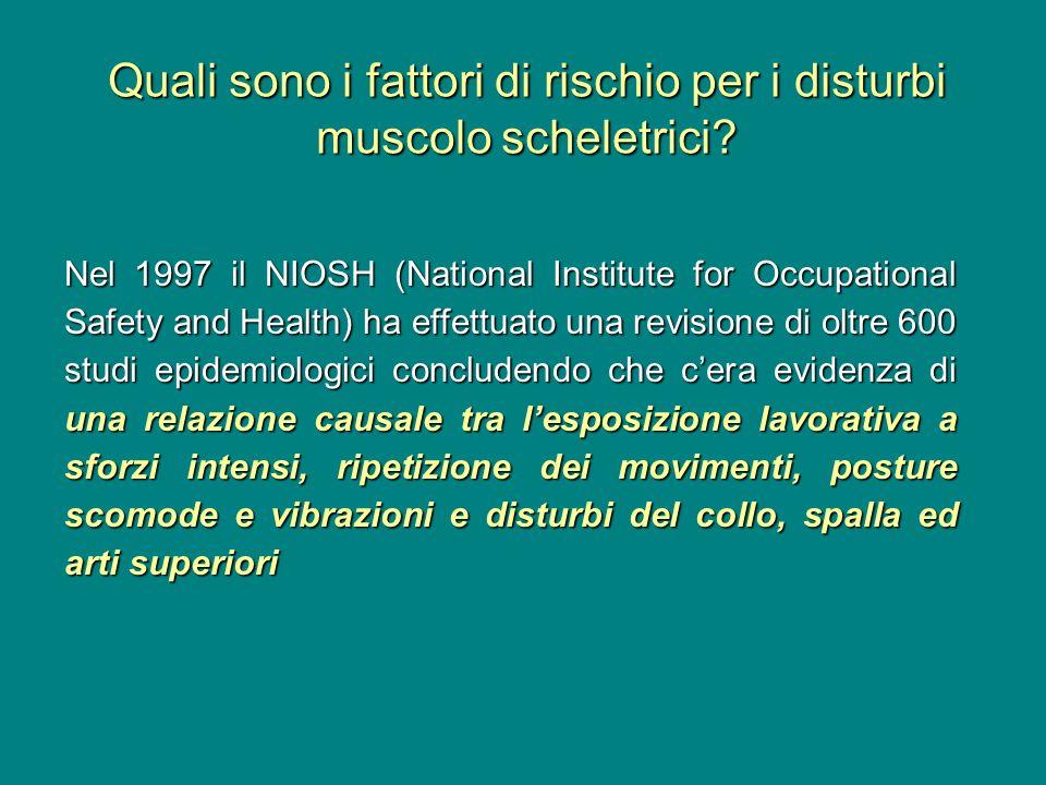 Quali sono i fattori di rischio per i disturbi muscolo scheletrici? Nel 1997 il NIOSH (National Institute for Occupational Safety and Health) ha effet