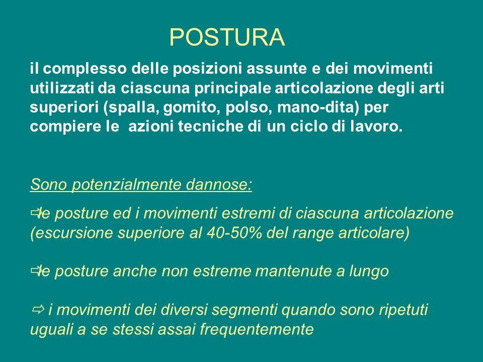 POSTURA il complesso delle posizioni assunte e dei movimenti utilizzati da ciascuna principale articolazione degli arti superiori (spalla, gomito, pol