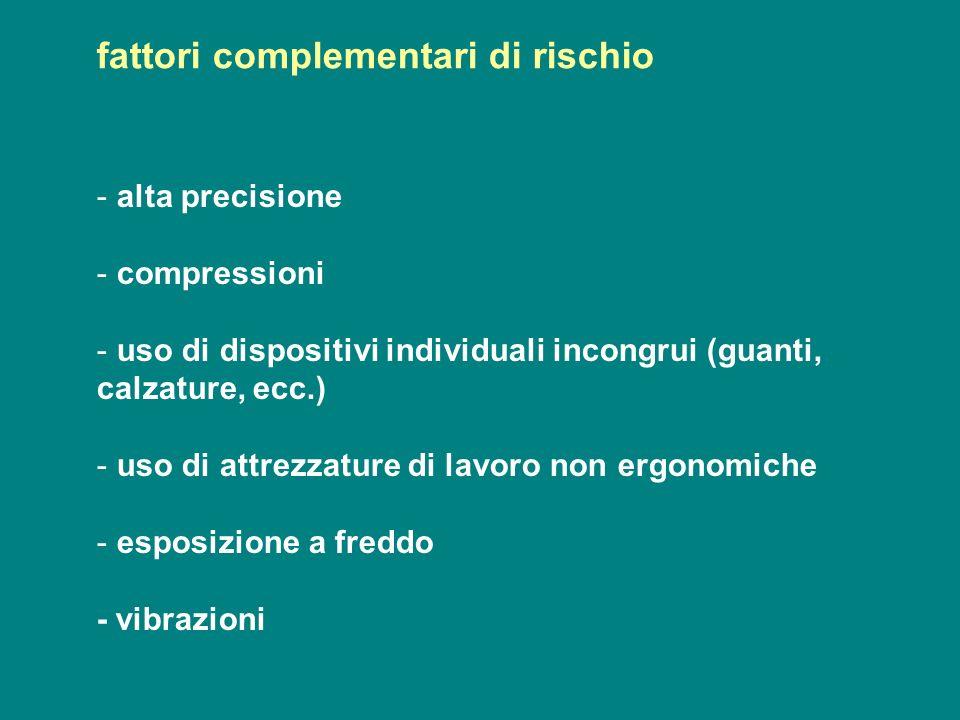 - alta precisione - compressioni - uso di dispositivi individuali incongrui (guanti, calzature, ecc.) - uso di attrezzature di lavoro non ergonomiche