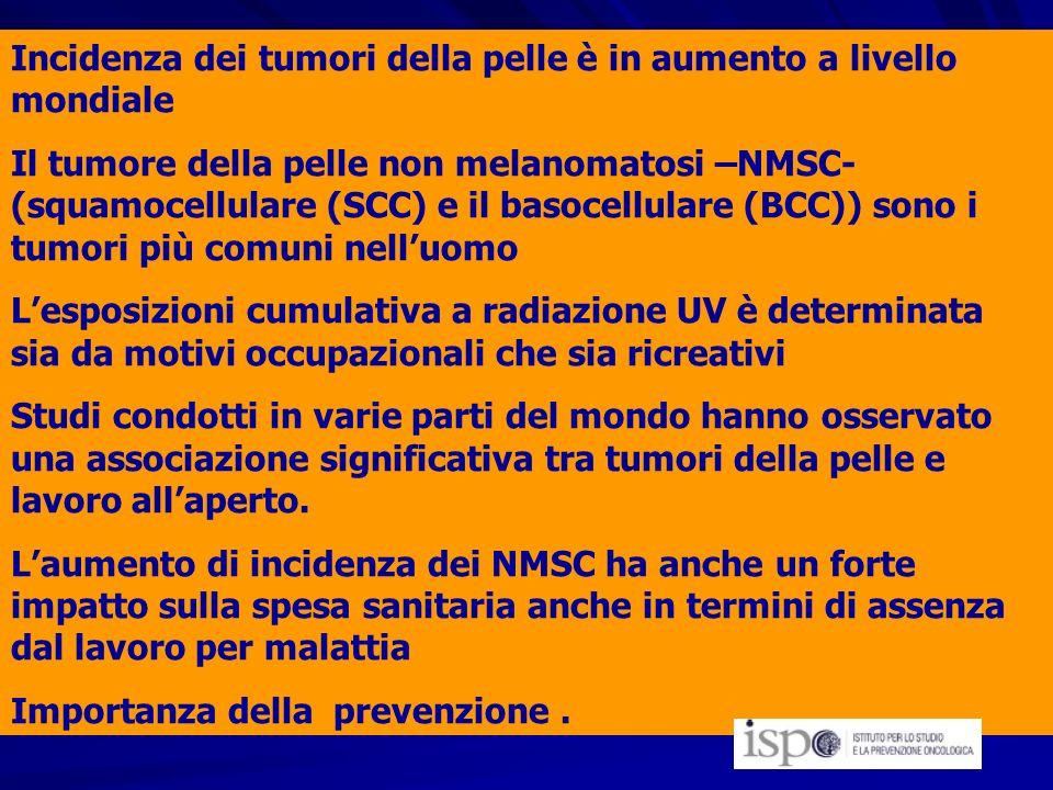 Incidenza dei tumori della pelle è in aumento a livello mondiale Il tumore della pelle non melanomatosi –NMSC- (squamocellulare (SCC) e il basocellula