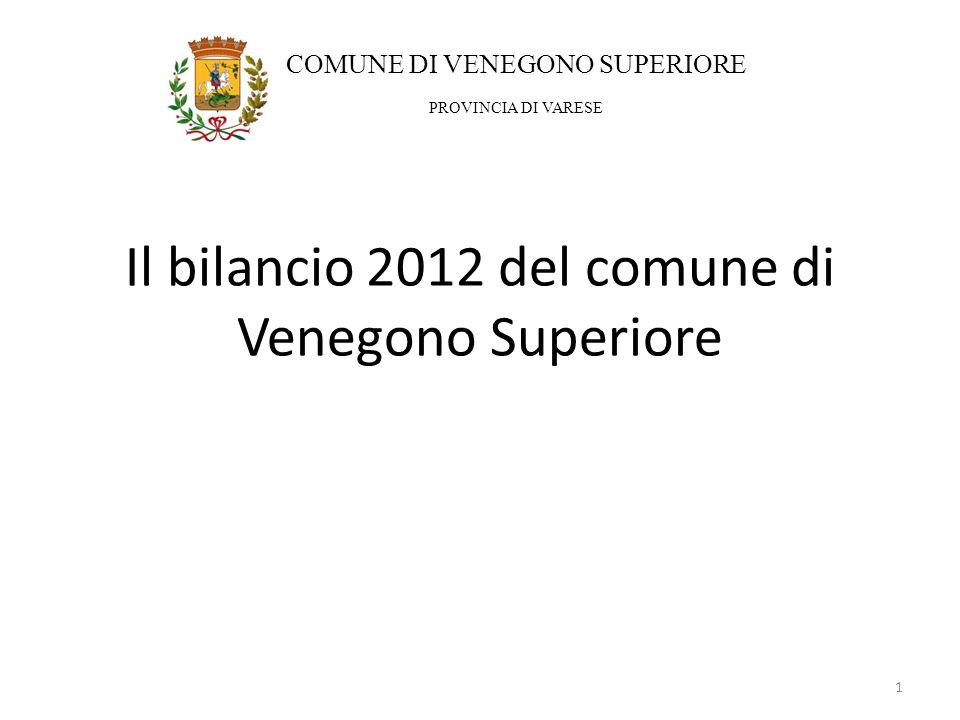 Il bilancio 2012 del comune di Venegono Superiore 1 COMUNE DI VENEGONO SUPERIORE PROVINCIA DI VARESE