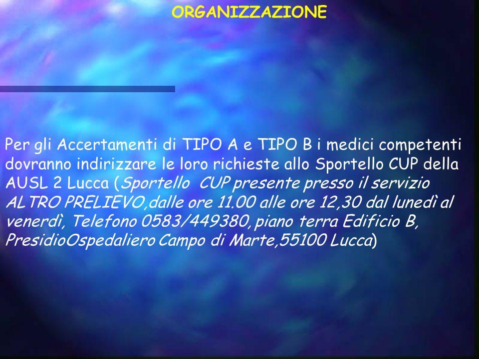 Per gli Accertamenti di TIPO A e TIPO B i medici competenti dovranno indirizzare le loro richieste allo Sportello CUP della AUSL 2 Lucca (Sportello CU