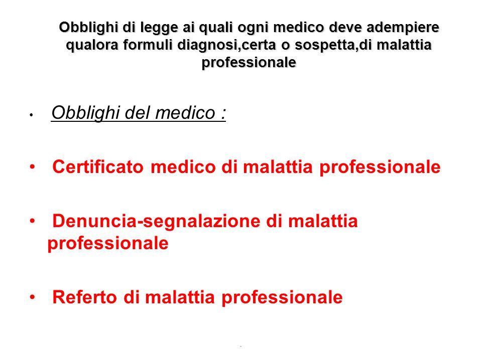 Obblighi di legge ai quali ogni medico deve adempiere qualora formuli diagnosi,certa o sospetta,di malattia professionale Obblighi del medico : Certif