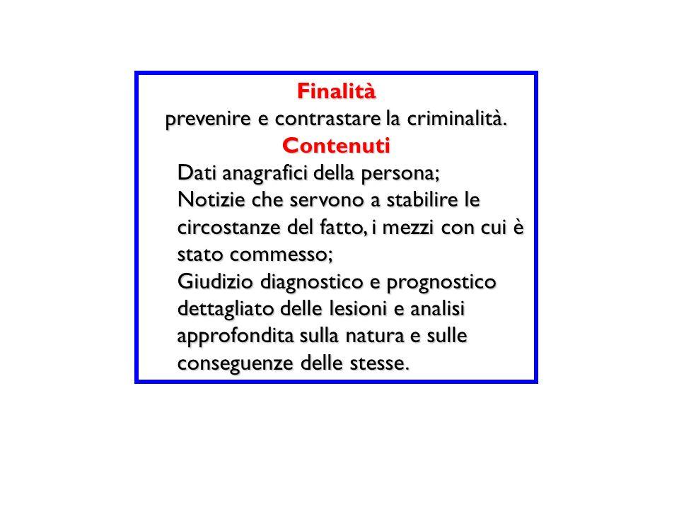 Finalità prevenire e contrastare la criminalità. Contenuti Dati anagrafici della persona; Notizie che servono a stabilire le circostanze del fatto, i