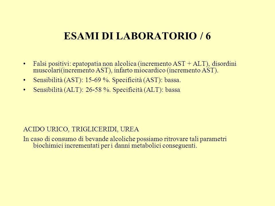 ESAMI DI LABORATORIO / 6 Falsi positivi: epatopatia non alcolica (incremento AST + ALT), disordini muscolari(incremento AST), infarto miocardico (incr