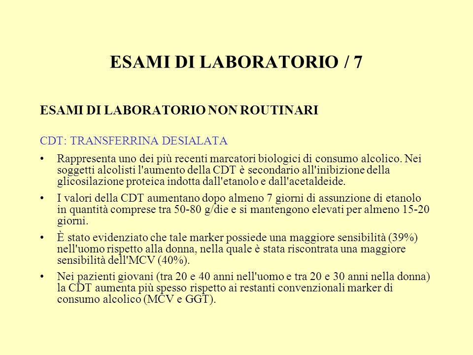 ESAMI DI LABORATORIO / 7 ESAMI DI LABORATORIO NON ROUTINARI CDT: TRANSFERRINA DESIALATA Rappresenta uno dei più recenti marcatori biologici di consumo