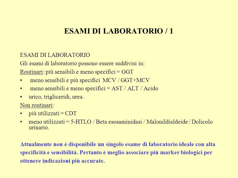 ESAMI DI LABORATORIO / 2 GGT: GAMMA-GLUTAMIL TRANSFERASI Risulta essere un test di primo livello nella diagnosi di consumo cronico di alcol.
