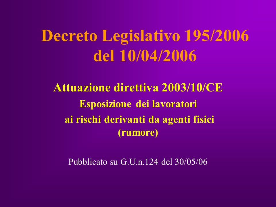 Decreto Legislativo 195/2006 del 10/04/2006 Attuazione direttiva 2003/10/CE Esposizione dei lavoratori ai rischi derivanti da agenti fisici (rumore) Pubblicato su G.U.n.124 del 30/05/06