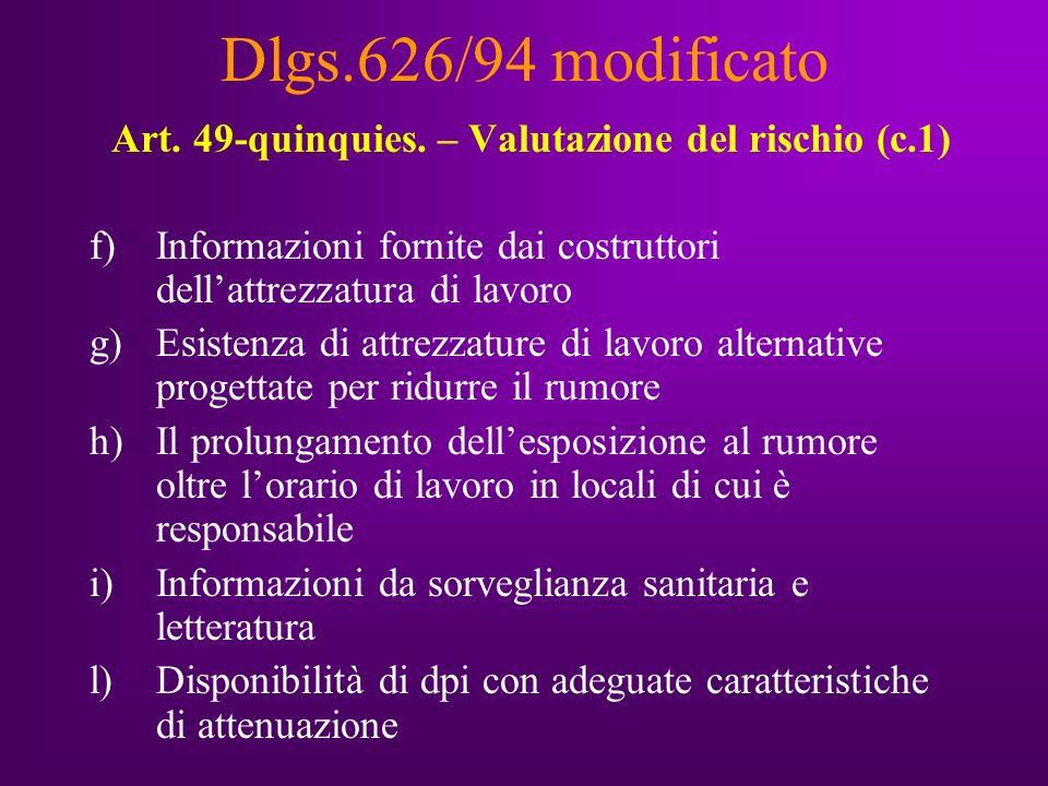 Dlgs.626/94 modificato Art. 49-quinquies.
