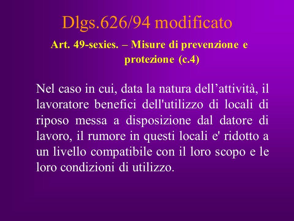 Dlgs.626/94 modificato Art. 49-sexies.