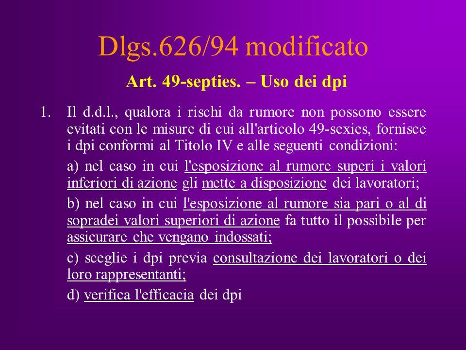 Dlgs.626/94 modificato Art. 49-septies.