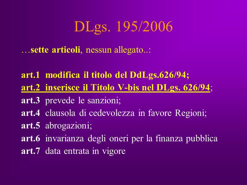 DLgs.195/2006 INTEGRA il DLgs 626/94 al Titolo V bis Sono inseriti gli artt.