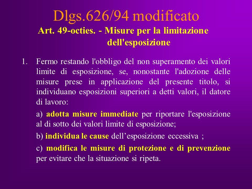 Dlgs.626/94 modificato Art. 49-octies.