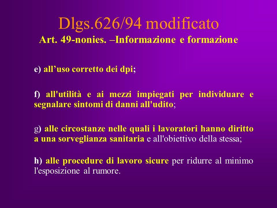 Dlgs.626/94 modificato Art. 49-nonies.