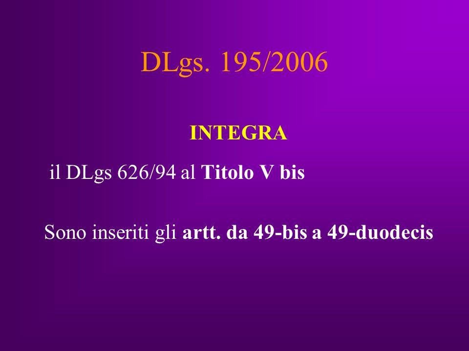 DLgs. 195/2006 INTEGRA il DLgs 626/94 al Titolo V bis Sono inseriti gli artt.