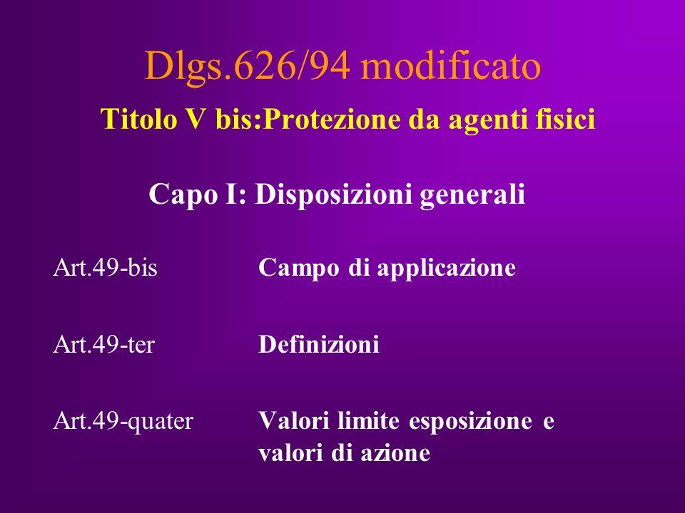 Dlgs.626/94 modificato Titolo V bis:Protezione da agenti fisici Capo I: Disposizioni generali Art.49-bisCampo di applicazione Art.49-ter Definizioni Art.49-quater Valori limite esposizione e valori di azione