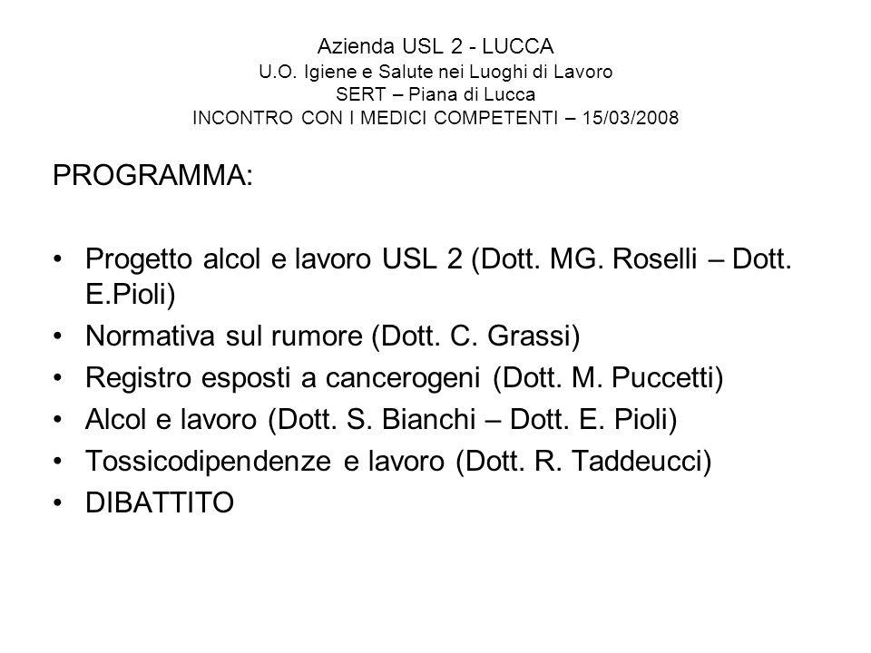 Azienda USL 2 - LUCCA U.O. Igiene e Salute nei Luoghi di Lavoro SERT – Piana di Lucca INCONTRO CON I MEDICI COMPETENTI – 15/03/2008 PROGRAMMA: Progett