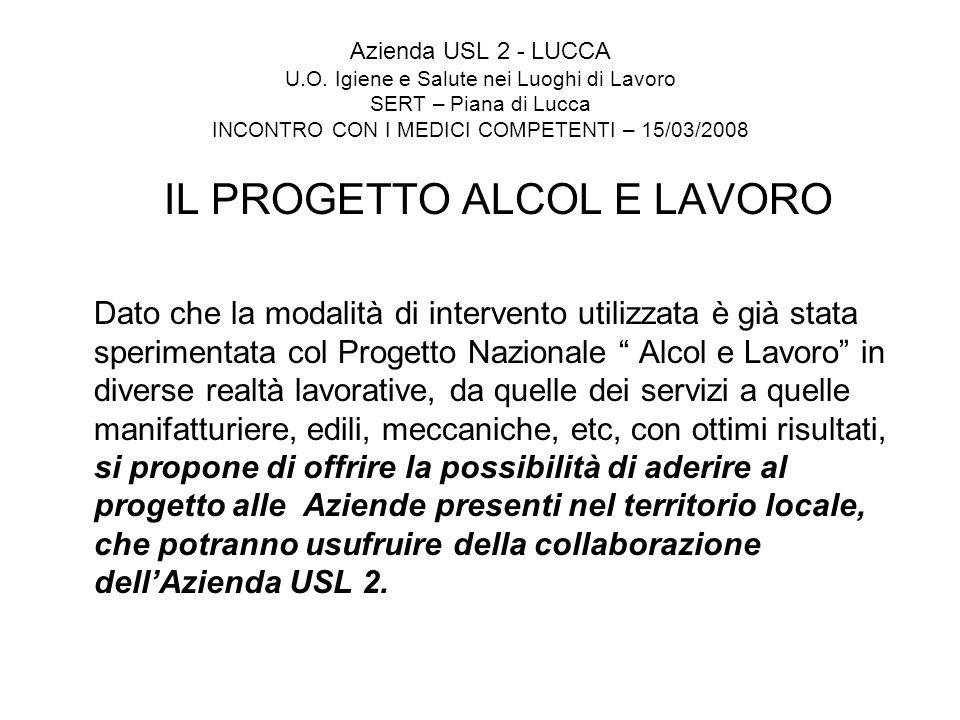 Azienda USL 2 - LUCCA U.O. Igiene e Salute nei Luoghi di Lavoro SERT – Piana di Lucca INCONTRO CON I MEDICI COMPETENTI – 15/03/2008 IL PROGETTO ALCOL