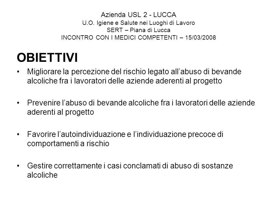 Azienda USL 2 - LUCCA U.O. Igiene e Salute nei Luoghi di Lavoro SERT – Piana di Lucca INCONTRO CON I MEDICI COMPETENTI – 15/03/2008 OBIETTIVI Migliora