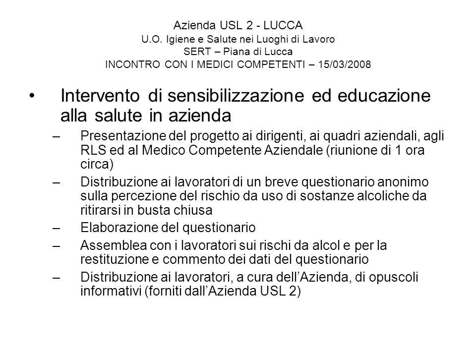 Azienda USL 2 - LUCCA U.O. Igiene e Salute nei Luoghi di Lavoro SERT – Piana di Lucca INCONTRO CON I MEDICI COMPETENTI – 15/03/2008 Intervento di sens