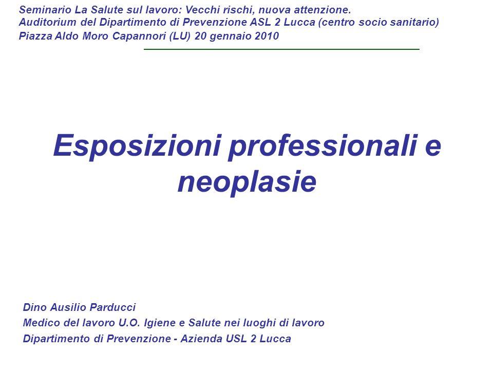 Esposizioni professionali e neoplasie Dino Ausilio Parducci Medico del lavoro U.O. Igiene e Salute nei luoghi di lavoro Dipartimento di Prevenzione -