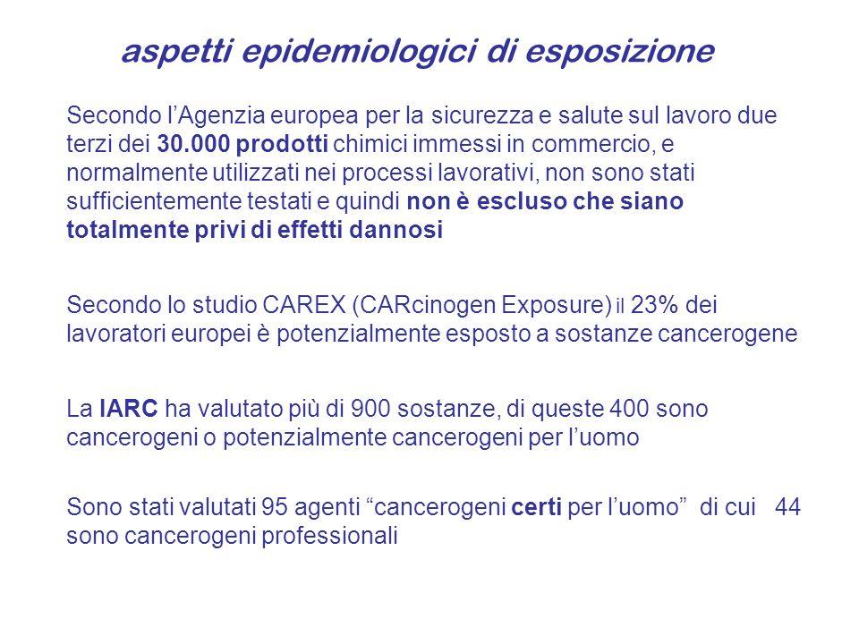 aspetti epidemiologici di esposizione Secondo lAgenzia europea per la sicurezza e salute sul lavoro due terzi dei 30.000 prodotti chimici immessi in c